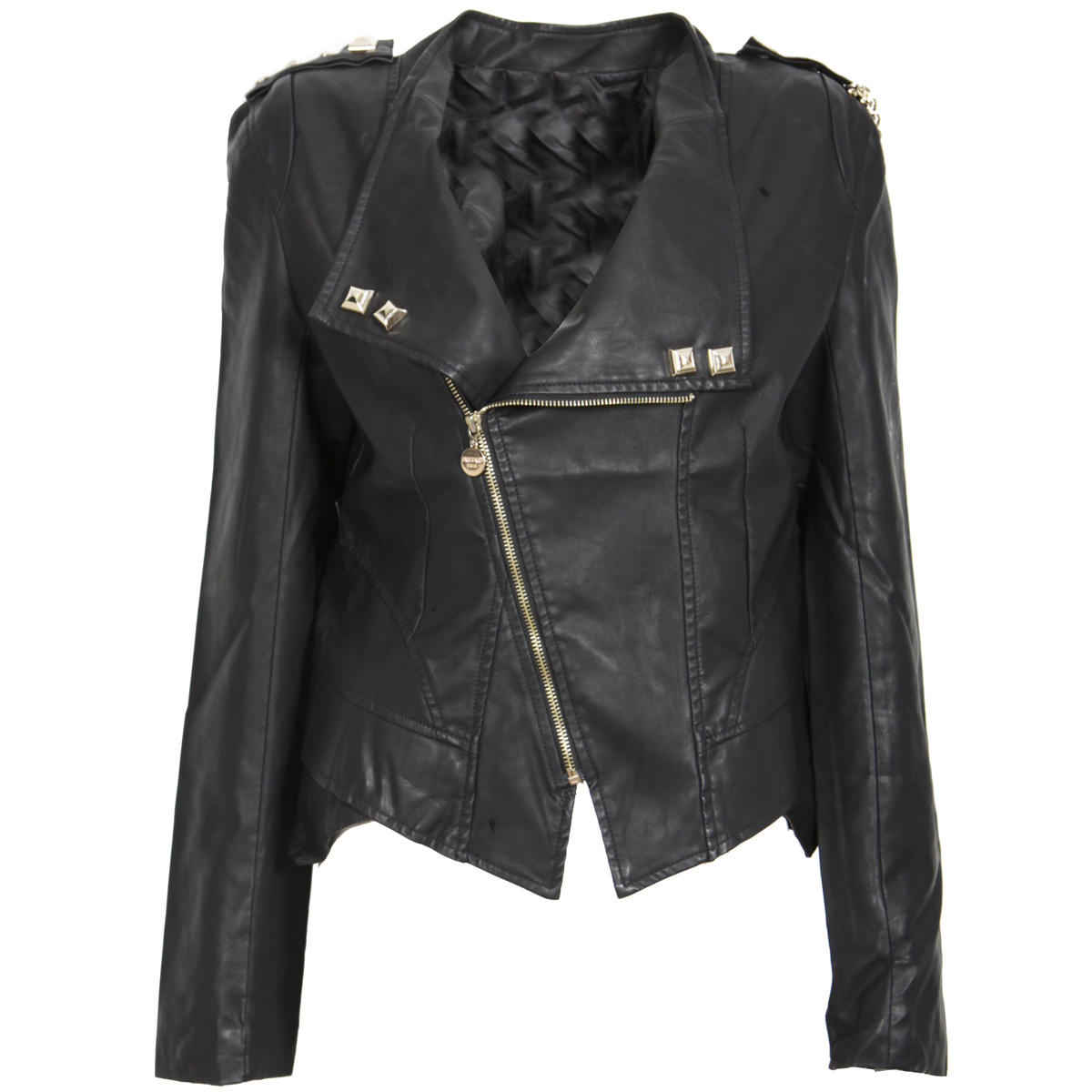 Black Chain Leather Look Biker Jacket Preview